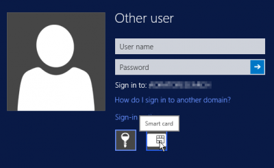 Windows logon with an optional Smart Card authentication. The user can choose to authenticate with either a Smart Card (denoted by a Smart Card icon) or a Password (denoted by the key icon)